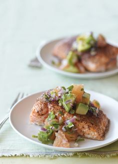 Roasted salmon with avocado & grapefruit salsa