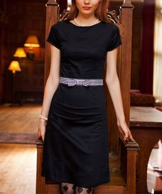 Shabby Apple Navy Bow-Belt Boatneck Dress - Women | zulily