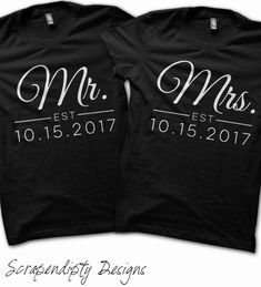 Matching Wedding Shirts - Mr. and Mrs. Shirts / Husband Clothing / Wife Outfit / Jack and Jill Party Shirts / Wedding Paired Tshirts T Shirt by Scrapendipitees on Etsy