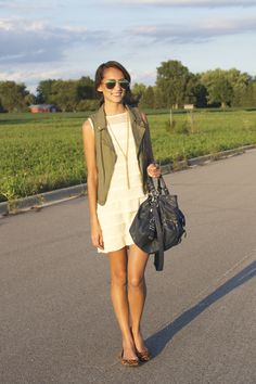 Army Green vest, white dress, gold tassel necklace, cheetah flats, green mirrored sunglasses, summer to fall outfit 2014, CollegeFashionista Style Guru Bio