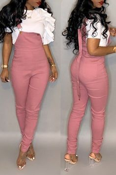 Lovely Casual Skinny Pink Blending One-piece Jumpsuit Chic Outfits, Sexy Outfits, Trendy Outfits, Fashion Outfits, Fashion Tips, Mens Fashion, Fashion Hair, Fashion Trends, Kardashian