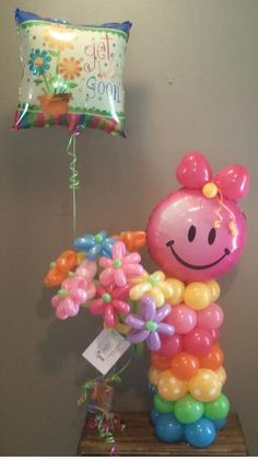 """Balloon Delivery Little Girl Balloon Character  #balloon #sculpting #girl  tulsaballoonsexpress.com  This is So Cute! The balloon says """"get well soon"""" but this would be so cute to welcome a new baby girl! Or for a 1st birthday...or.....:)"""