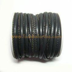 Símil cuero cosido de 4 mm    www.losabalorios.com/7-hilos-cordones-y-cuero