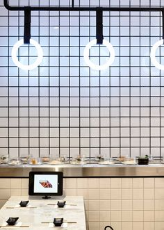 I like how the light affects the appearance of the tile. Tetsujin Japanese Restaurant Melbourne by Architects EAT.