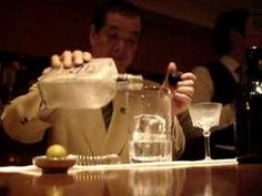 Mr. Mori makes a awesome Martini - notice how he cools the mixing glass before making the actual drink, and the size of those ice cubes