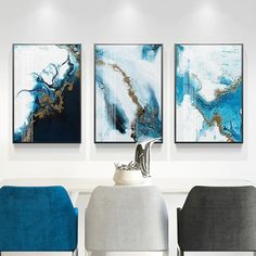 Nordic Abstract Color Splash Blue Gold Canvas Painting Poster and Print Unique Decor Wall Art Pictures for Living Room Bedroom Gold Canvas, Canvas Frame, Canvas Art, Canvas Prints, Living Room Pictures, Wall Art Pictures, Cheap Paintings, Marble Print, Decoration