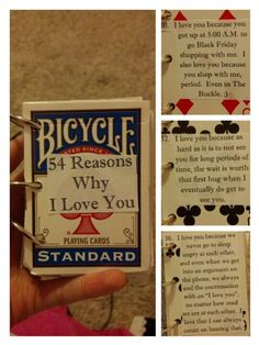 """54 Reasons Why I Love You"" on a deck of cards"