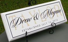 Personalized Family Name Sign - Wood Sign with Established Date for Wedding Gift Anniversary or Bridal Shower. $34.95, via Etsy.