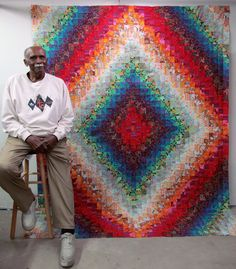 """Here is my 86 year old friend Otis with his finished Trip Around the World quilt top. It is 78"""" x 98"""" and you can see by his smile that h..."""
