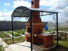 Самодельная русская печь на улице под навесом - простой вариант изготовления Pizza Oven Outdoor, Brick Design, Pergola, Bbq, Backyard, Outdoor Structures, Landscape, House, Furniture