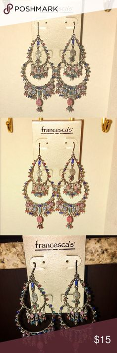 "NWT Francesca's Earrings Mixed Beads-Stones Francesca's NWT(new with tags) multi colored Mixed-Beads-Stone earrings. ""We found a little sparkle just for you! Xoxo"" 👑 Francesca's Collections Jewelry Earrings"