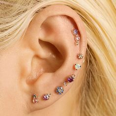 🌷 Live life in color 🌷 Tag a friend who would wear these studs 💫 Ear Jewelry, Cute Jewelry, Stone Jewelry, Body Jewelry, Jewelery, Jewelry Accessories, Cute Ear Piercings, Navel Piercing, Body Piercings