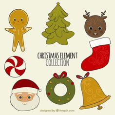 Set of lovely christmas decoration elements Free Vector