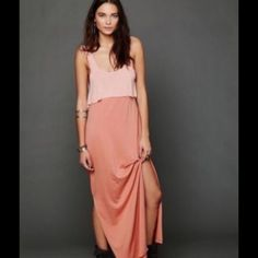 Free People Maxi Dress Soft posey pink top and peachy colored bottom skirt. Fits perfect to the body and perfect for any spring/summer time outfit. Top- 85% Rayon, 15% flax-Lin. Skirt-60% Cotton, 40% modal. Gently used. Free People Dresses Maxi