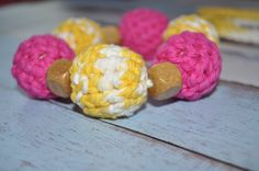Yellow, white, and hot pink are so cute together!!! #teethingnecklace #teethingring #organicteether #organicteethingring #nursingteethingring  #ecofriendlyteethingring #ecofriendlyteether  #nursingnecklace #giftfornewmom #babyshowergift #infantgift #crochetbeadnecklace