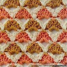 Bellissimo punto all'uncinetto che potrebbe essere utilizzato per realizzare copertine, maglie ...   fonte:http://www.liveinternet.ru/users/j