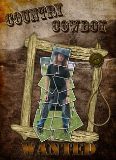 Country Cowboy - WANTED - Scrapbook.com - Great technique on the photo. #scrapbooking #layouts #digital