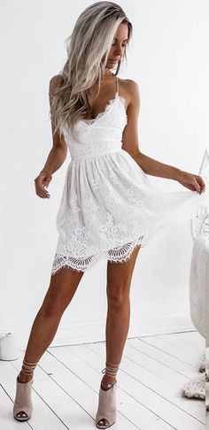 #summer #outfits White Lace Dress + Grey Open Toe Booties