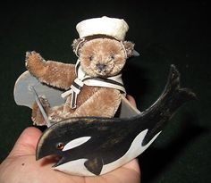 OOAK Miniature Vintage Style Sailor  Mohair bear with whale Rocker by Brenda Powers . Photo via Ebay