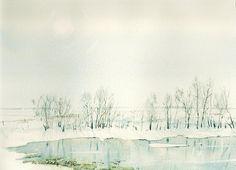 Акварель. Зимние пейзажи