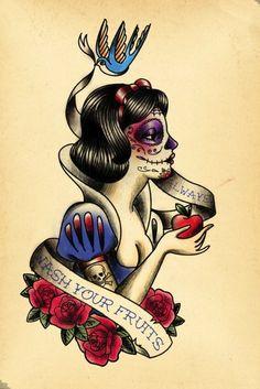 Sugar skull Snow White tattoo design Tatto Skull, Sugar Skull Tattoos, Sugar Skulls, Snow White Tattoos, Art Magique, Catrina Tattoo, Dibujos Tattoo, Type Tattoo, Twisted Disney