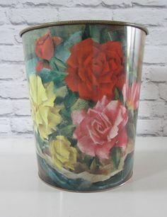 vintage floral tin bin