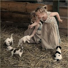 country life - little girls and puppies in a barn Animals For Kids, Farm Animals, Cute Animals, Animal Fun, Jack Russell Terrier, Country Life, Country Living, Country Charm, Mans Best Friend