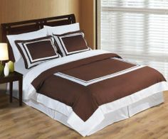 """Luxurious 6 Piece Twin Size Hotel Chocolate and White Bed In A Bag Set. IncludesDuvet CoverSet + 100% Egyptian Cotton Bed Sheet Set + DownAlternativeComforter by Egyptian Cotton Factory Outlet Store. $169.99. The Bed In A Bag Set is made of 100% Egyptian Cotton. 1 Flat Sheet (66"""" x 96""""), 1 Fitted Sheet (39"""" x 75"""") and 1 Pillow Case (20"""" x 30""""). 1 Duvet Cover (66"""" x 90"""") and 1 Standard Pillow Sham (20"""" x 26""""). Brand New & Factory Sealed in a Beautiful Zippered Gift Package..."""