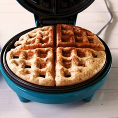 """We realize that by calling these """"magic"""" waffles they better really deliver—and they do. The batter is basically eggs, mashed bananas, almond butter, and a few tablespoons of flour, so you won't feel Low Carb Waffles, Healthy Waffles, Protein Waffles, Low Carb Recipes, Cooking Recipes, Healthy Recipes, Easy Recipes, Healthy Desayunos, Healthy Brunch"""