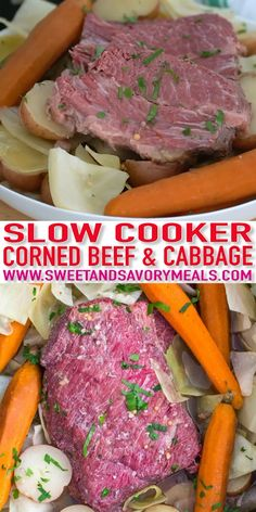 Slow Cooker Corned Beef is incredibly juicy tender and very flavorful. Made with cabbage potatoes and carrots for a well-rounded meal. This dish is perfect for family weekend dinner or to feed a larger crowd. Cooking Corned Beef, Slow Cooker Corned Beef, Corned Beef Brisket, Corned Beef Recipes, Corned Silverside Slow Cooker, Grilled Corned Beef, Cabbage Slow Cooker, Cabbage And Potatoes, Pork Chops And Potatoes