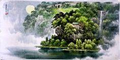 (North Korea) Lion waterfalls in Mt Myohyang by Kim A-ryeo.