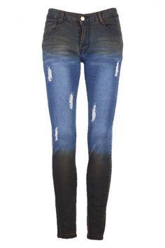 Distressed Dip Dye Jeans