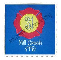 $2.95Applique Firefighter Maltese Cross Machine Embroidery Design