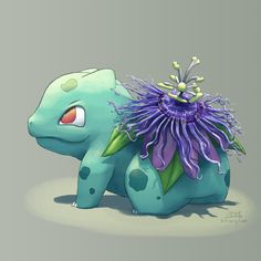 Passionfruit flower Bulbasaur!  My parents had these growing about eight years ago and they are the craziest flowers