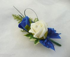 Grooms Double Rose Buttonhole Ivory & Royal Blue Wedding Flowers