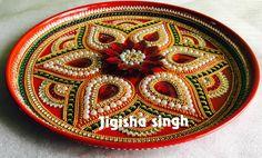 Arti Thali Decoration, Kalash Decoration, Thali Decoration Ideas, Diy Diwali Decorations, Handmade Decorations, Handmade Crafts, Diwali Diy, Diwali Craft, Diwali Gifts