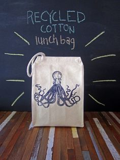 Lunch Bag - Screen Printed Recycled Cotton Lunch Bag - Reusable and Washable - Eco Friendly - Handmade - Lunch Box - Octopus - Nautical