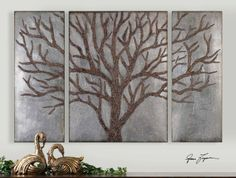 Winter View    Rustic brown tree design with gold highlights and a lightly antiqued silver leaf background. Sizes: Center-30x40x2, Sides(2)-15x40x2    Designer:	Grace Feyock  Dimensions:	60 W X 40 H X 2 D (in)  Weight (lbs):	40  Ship Via UPS:	No  UPC Number:	792977137932