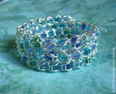 """Браслет """"Возвращение"""" - голубой,бирюзовый,море,морская волна,морская тема"""