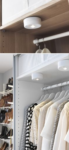 Brighten up your closet, bookshelf, bedroom or bathroom sustainably with IKEA STÖTTA LED lights, which are battery operated and switch on and off automatically when you open or close the door so no energy is wasted.