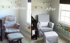 Detailed step by step tutorial on transforming your old glider into a beautiful chair for your nursery.
