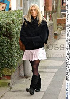 February 27, 2008: Chelsy Davy seen working to Leeds University on a dull day in a lovely pink skirt.