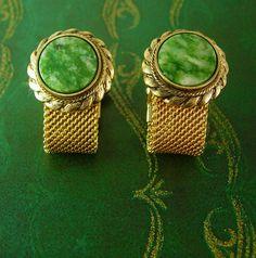 Anson  Jade Mesh Wrap Gold Cufflinks by NeatstuffAntiques on Etsy