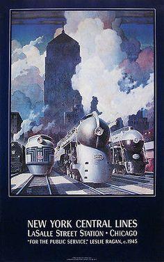 LaSalle Street Station Chicago New York Central Lines Vintage Railroad Poster   eBay