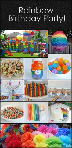 Rainbow Party - The Birthday Party Rainbow Birthday Party by Rainbow Dash Party, Rainbow Unicorn Party, Rainbow Parties, Rainbow Birthday Party, Rainbow Theme, Birthday Fun, First Birthday Parties, Birthday Party Themes, First Birthdays