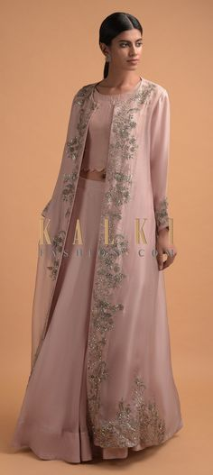 Dusty Pink Plain Skirt And Crop Top With A Matching Long Jacket With Floral Embroidery Online - Kalki Fashion Fancy Wedding Dresses, Indian Wedding Outfits, Indian Outfits, Pakistani Dress Design, Pakistani Dresses, Star Wars Party, Embroidery Online, Floral Embroidery, Indian Designer Outfits
