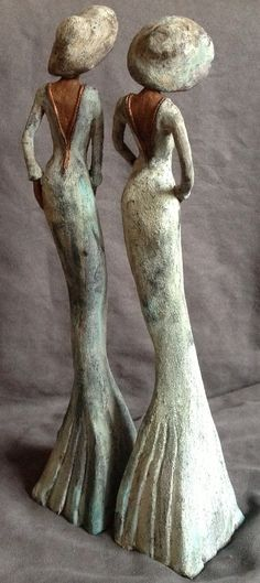 Erica Straatman Art of Ceramics Owls Tall Female Figures Birds Africa Paper Mache Sculpture, Pottery Sculpture, Sculpture Art, Ceramic Figures, Clay Figures, Images Gif, Ceramic Owl, Paperclay, Art Plastique