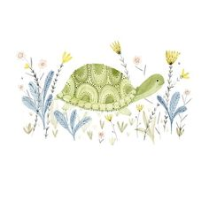 Turtle in a meadow archival art print by Katie Wilson / inmybackyard on Etsy Art And Illustration, Wallpaper Kawaii, Tortoise Turtle, Turtle Love, Watercolor Animals, Pretty Pictures, Painting Inspiration, Cute Art, Painting & Drawing