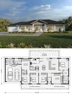 Yarraman Design Ideas, Home Designs in Modern Bungalow House, Cottage Style House Plans, Bungalow House Plans, Family House Plans, New House Plans, Dream House Plans, Sims House Plans, House Layout Plans, House Layouts