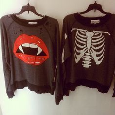 .Wildfox Couture Vampire Lips Garbage Tee and Ribcage Tee